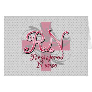 Registered Nurse, Pink Cross Swirls Greeting Card