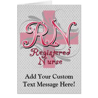 Registered Nurse, Pink Cross Swirls Card