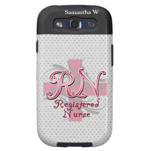 Registered Nurse, Pink Cross Swirls Galaxy S3 Cases