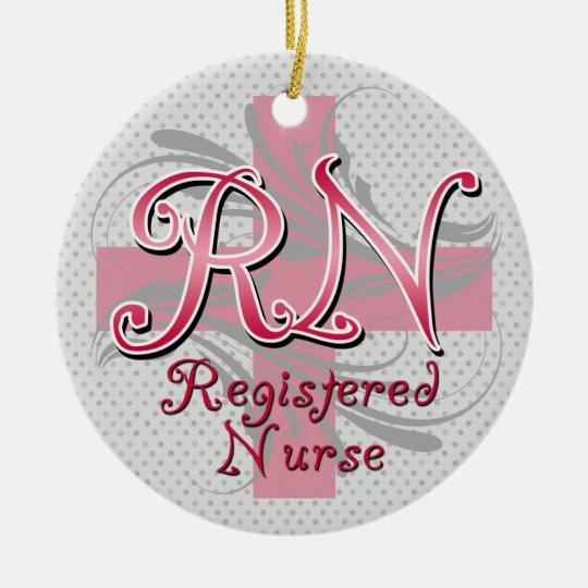 Registered Nurse, Pink Cross Swirls Ceramic Ornament
