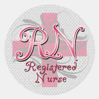 Registered Nurse, Pink Cross Swirls Classic Round Sticker