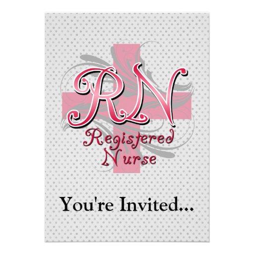 Registered Nurse, Pink Cross Swirls Invitations