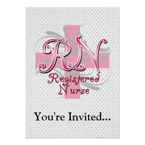 Registered Nurse, Pink Cross Swirls Invitations