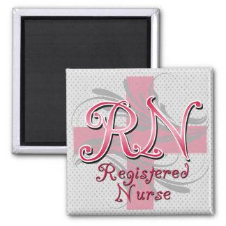Registered Nurse, Pink Cross Swirls Refrigerator Magnet