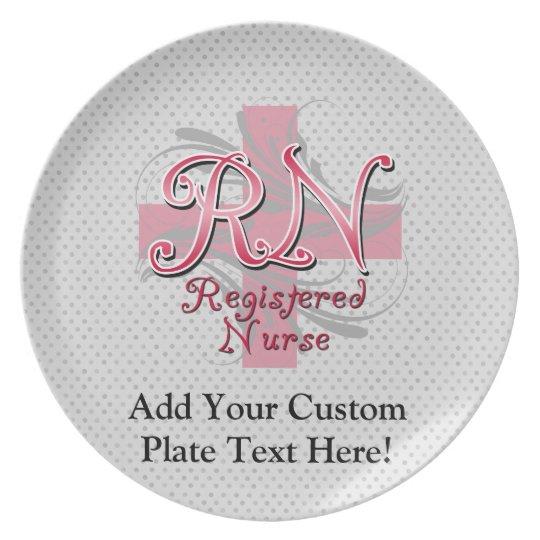 Registered Nurse, Pink Cross Swirls Melamine Plate