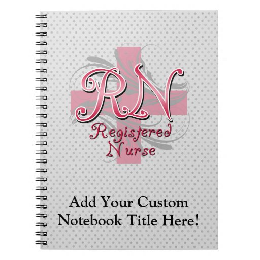 Registered Nurse, Pink Cross Swirls Notebook