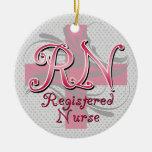 Registered Nurse, Pink Cross Swirls Christmas Ornament