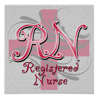 Registered Nurse, Pink Cross Swirls Poster