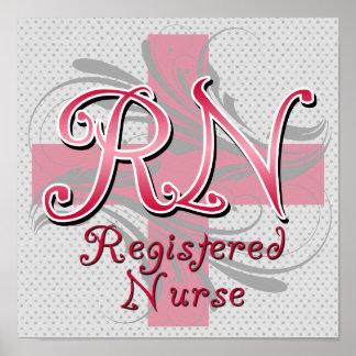 Registered Nurse, Pink Cross Swirls Posters