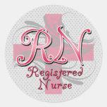 Registered Nurse, Pink Cross Swirls Round Stickers