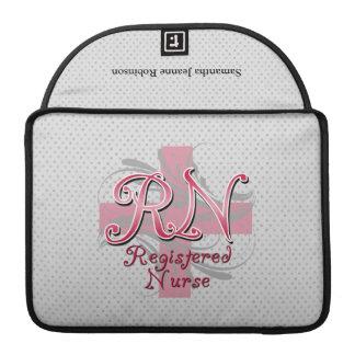 Registered Nurse, Pink Cross Swirls Sleeve For MacBook Pro