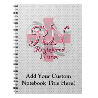 Registered Nurse, Pink Cross Swirls Spiral Notebook