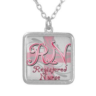 Registered Nurse, Pink Cross Swirls Square Pendant Necklace