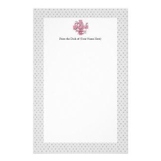 Registered Nurse, Pink Cross Swirls Stationery Paper