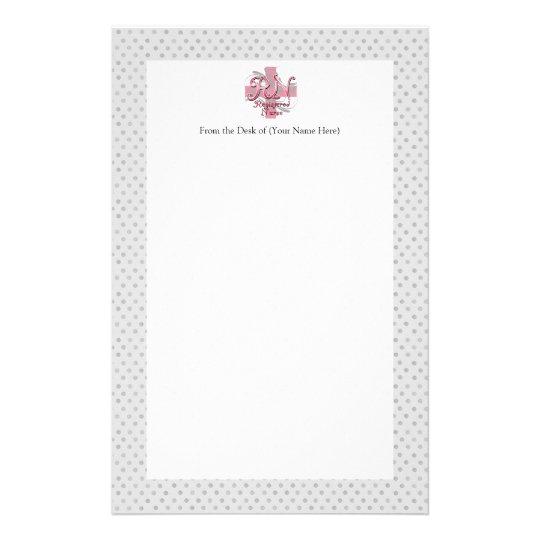 Registered Nurse, Pink Cross Swirls Stationery