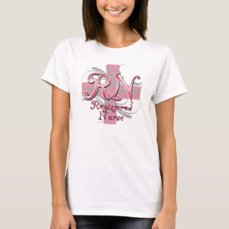 Registered Nurse, Pink Cross Swirls T-Shirt