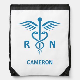 Registered nurse RN blue caduceus personalized Drawstring Bag