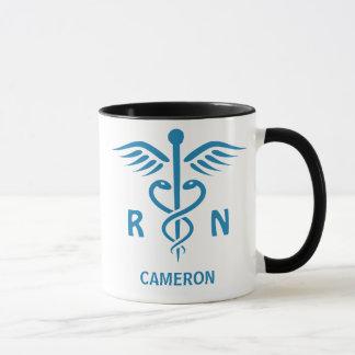 Registered nurse RN blue caduceus personalized Mug