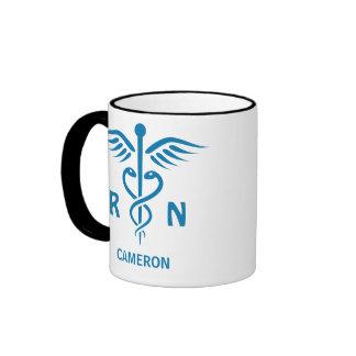 Registered nurse RN blue caduceus personalized Mugs