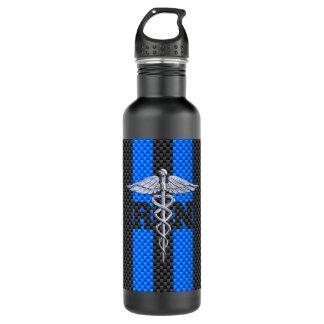 Registered Nurse RN Caduceus Carbon Fiber Stripes Stainless Steel Water Bottle