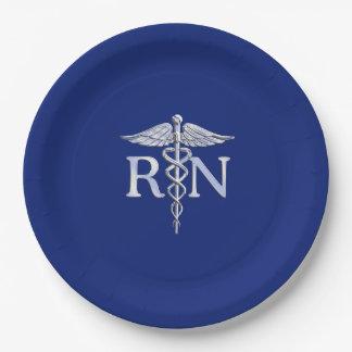 Registered Nurse RN Caduceus Design Paper Plate