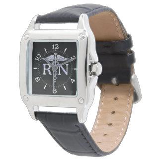 Registered Nurse RN Caduceus Dial Style on Black Wristwatches