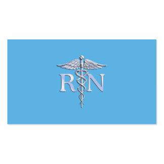Registered Nurse RN Caduceus on Baby Blue Business Card