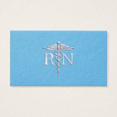 Registered Nurse RN Caduceus on Baby Blue Business Card at Zazzle