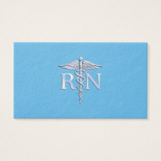 Registered Nurse RN Caduceus on Baby Blue Business Card
