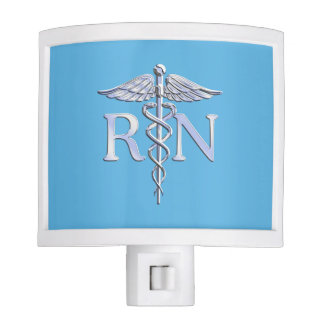 Registered Nurse RN Caduceus on Baby Blue Night Lite