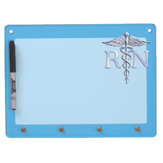 Registered Nurse RN Caduceus on Baby Blue Dry Erase Whiteboard