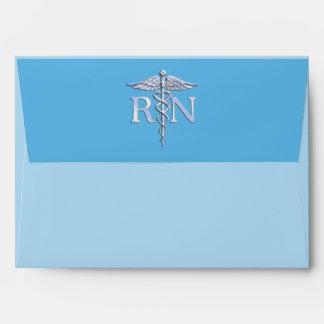 Registered Nurse RN Caduceus on Baby Blue Envelope