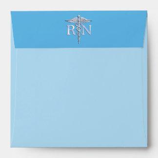 Registered Nurse RN Caduceus on Baby Blue Envelopes