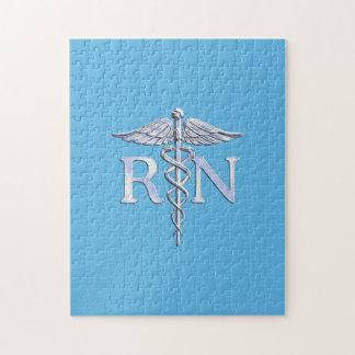 Registered Nurse RN Caduceus on Baby Blue Jigsaw Puzzle
