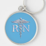 Registered Nurse RN Caduceus on Baby Blue Silver-Colored Round Keychain