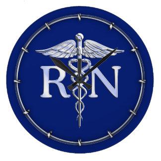 Registered Nurse RN Caduceus on Blue Decor Large Clock