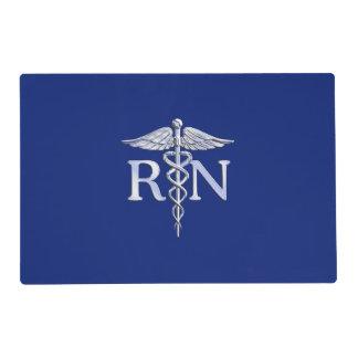 Registered Nurse RN Caduceus on Blue Decor Placemat