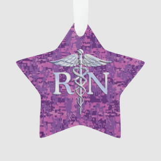 Registered Nurse RN Caduceus on Fuchsia Camo Ornament