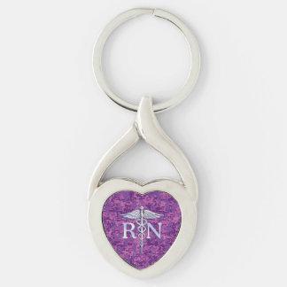 Registered Nurse RN Caduceus on Fuchsia Camo Silver-Colored Heart-Shaped Metal Keychain