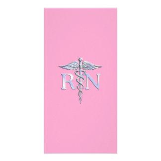 Registered Nurse RN Caduceus on Light Pink Card