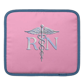Registered Nurse RN Caduceus on Light Pink Decor iPad Sleeve
