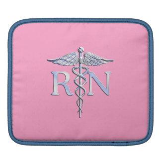 Registered Nurse RN Caduceus on Light Pink Decor iPad Sleeve