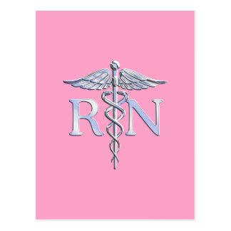 Registered Nurse RN Caduceus on Light Pink Decor Postcard