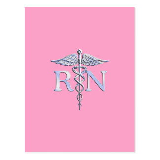 Registered Nurse RN Caduceus on Light Pink Postcard