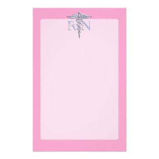 Registered Nurse RN Caduceus on Light Pink Stationery