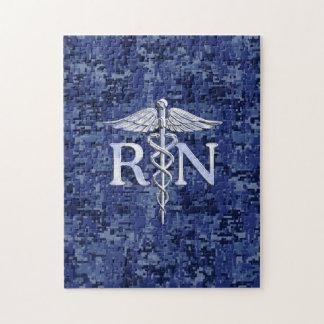 Registered Nurse RN Caduceus on Navy Blue Camo Jigsaw Puzzle