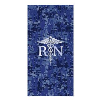 Registered Nurse RN Caduceus on Navy Blue Camo Photo Card