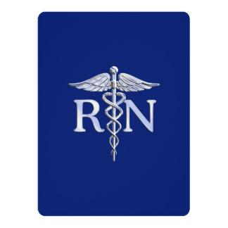 Registered Nurse RN Caduceus on Navy Blue Card
