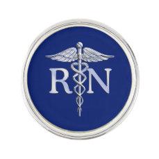 Registered Nurse RN Caduceus on Navy Blue Decor Lapel Pin