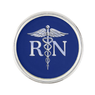 Registered Nurse RN Caduceus on Navy Blue Decor Lapel Pin